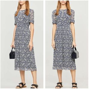 Claudie Pierlot Blue Paisley Silk Dress